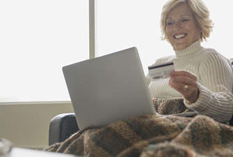 happy lady paying online
