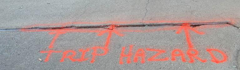 sunken concrete causes tripping hazards
