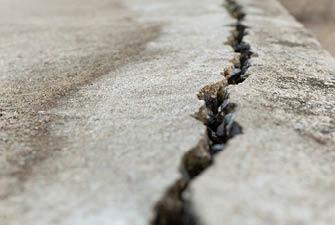 separated cracks in concrete floor